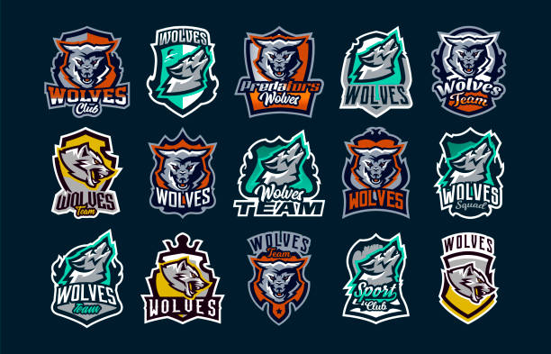 A large colorful collection of emblems, logos, icons of a howling, roaring wolf. A dangerous beast, a wild predator, a forest dweller. Vector illustration isolated on background A large colorful collection of emblems, logos, icons of a howling, roaring wolf. A dangerous beast, a wild predator, a forest dweller. Vector illustration isolated on background. silhouette of a howling coyote stock illustrations