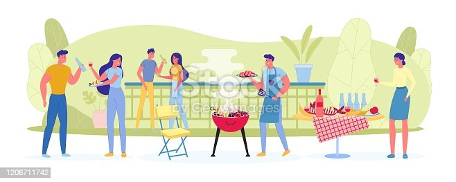 istock Large Company on Picnic Fries Meat and Vegetables. 1206711742