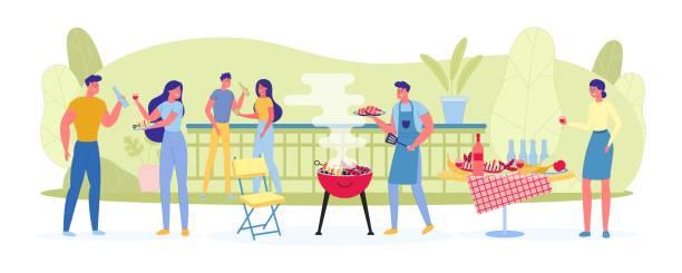 ilustrações, clipart, desenhos animados e ícones de grande companhia em piquenique batatas fritas carne e legumes. - churrasco