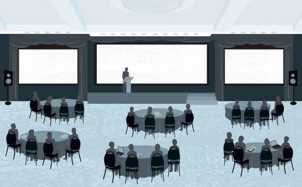 ilustrações de stock, clip art, desenhos animados e ícones de grande conferência com três ecrãs - muita comida