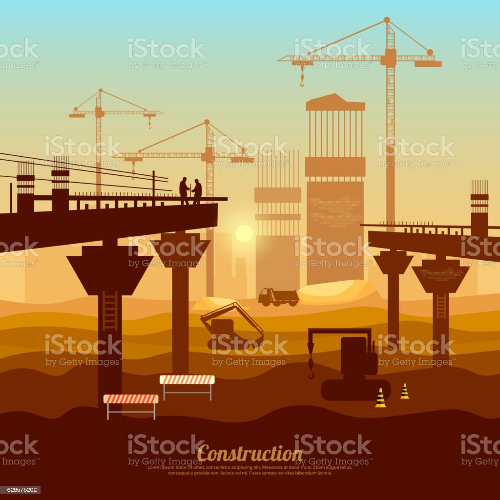 Large construction site vector, bridge construction with cranes vector art illustration