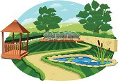 Large country garden with pond and gazebo