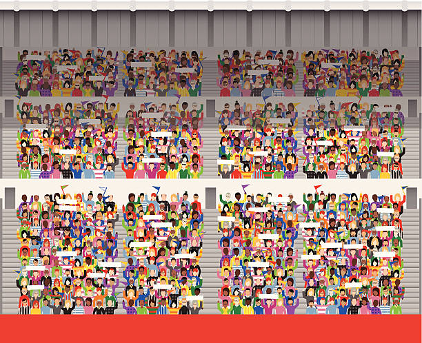 Large crowd in stadium grandstand Vector illustration of a generic crowd of supporters in a typical grandstand. Towards the back many supporters are in shadow, as there is a partial roof structure above them. There are just over 1000 supporters in the stand. 27 different designs of people. At the front is a large red area of bill boarding, ready for your own message. stadium stock illustrations