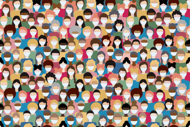 Large crowd of diverse people wearing masks to prevent virus spread. Global corona virus pandemic concept vector illustration. Seamless pattern. Large crowd of diverse people wearing masks to prevent virus spread. Global corona virus pandemic concept vector illustration. Seamless pattern. crowd of people stock illustrations