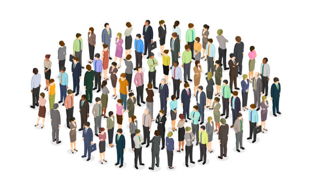 Large crowd of people standing in the shape of a circle vector art illustration