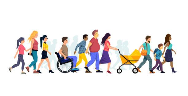 Eine große Schar von Menschen zu Fuß – Vektorgrafik