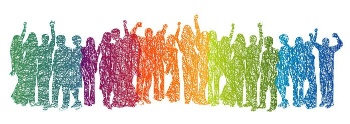 Large Crowd Rainbow Scribble