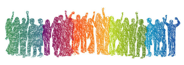 Large Crowd Rainbow Scribble vector art illustration