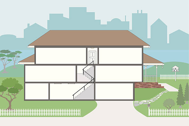 Large Cutaway House Ready to Decorate Cutaway of residential house  dollhouse stock illustrations
