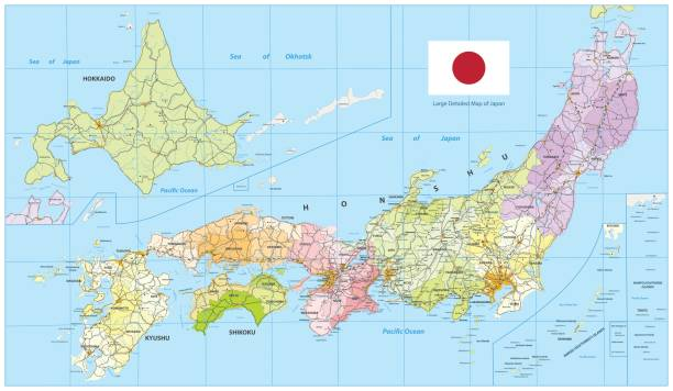 日本の大きな詳細地図 - 日本 地図点のイラスト素材/クリップアート素材/マンガ素材/アイコン素材