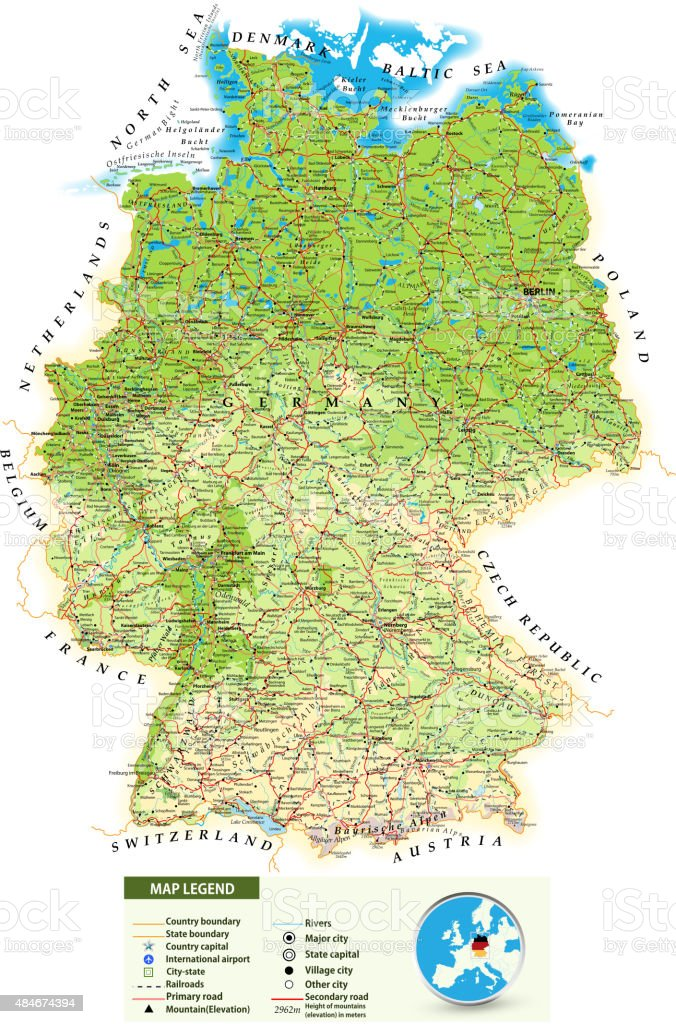 Large detailed road map of Germany vector art illustration