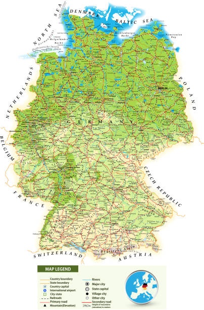 große detaillierte landkarte von deutschland - düsseldorf stock-grafiken, -clipart, -cartoons und -symbole