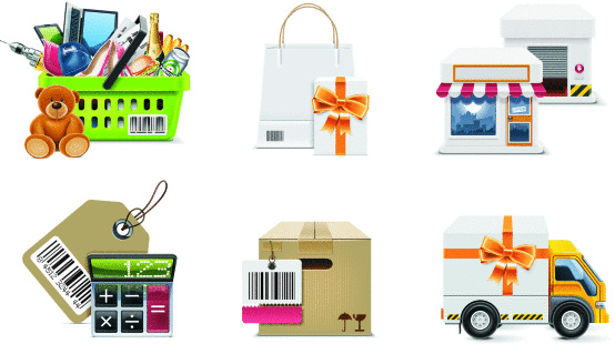 Large detailed vector icons representing shopping