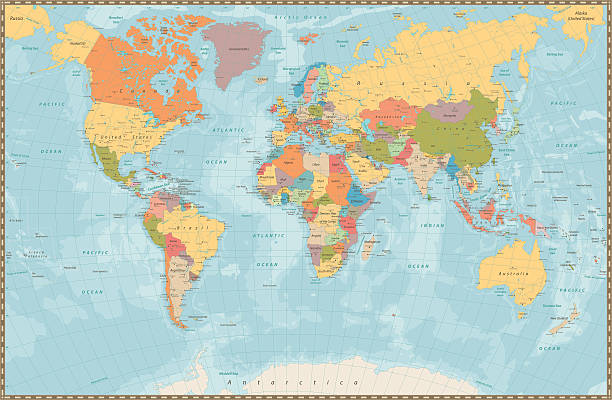 large detailed vintage color political world map with lakes and - weltkarte stock-grafiken, -clipart, -cartoons und -symbole