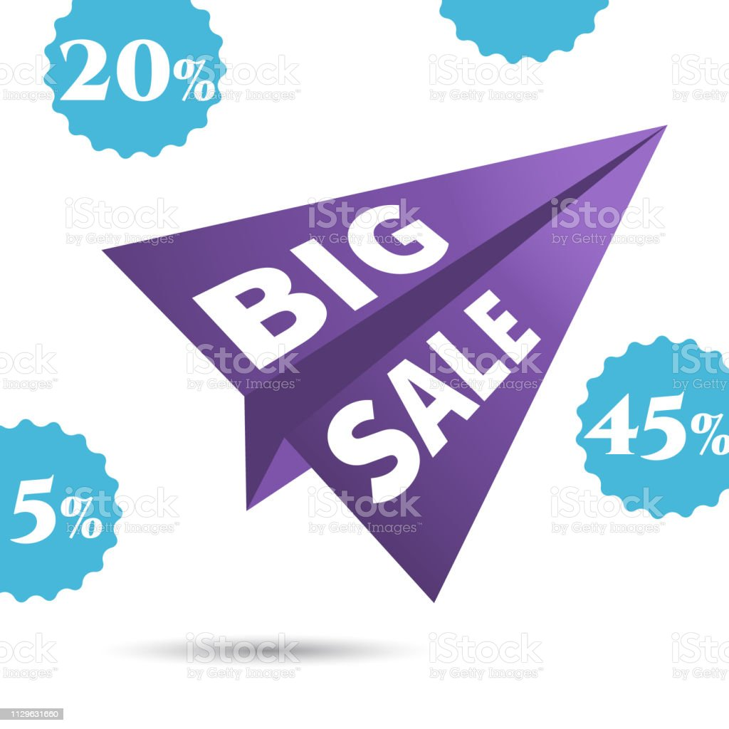 Large Discounts, big sale, vector airplane in the sky. design poster.
