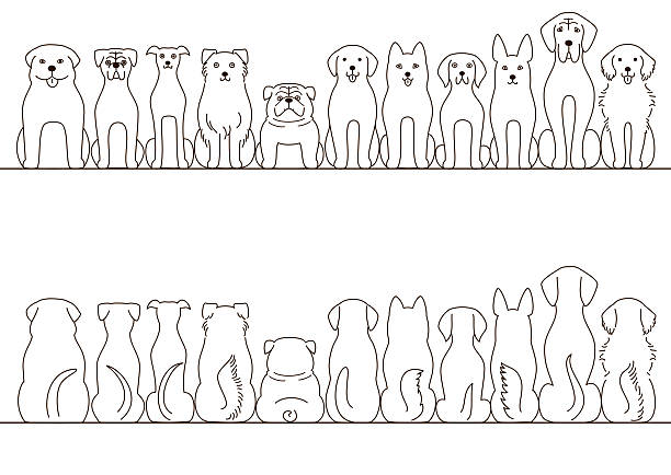 large dogs border set, front view and back view, line art - 犬点のイラスト素材/クリップアート素材/マンガ素材/アイコン素材