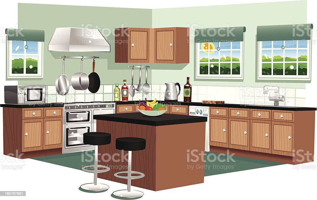 Large domestic modern kitchen vector art illustration