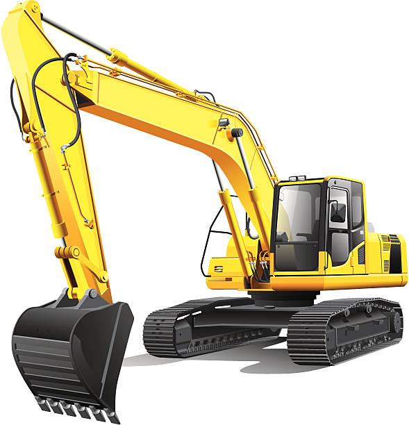 große excavator - bagger stock-grafiken, -clipart, -cartoons und -symbole