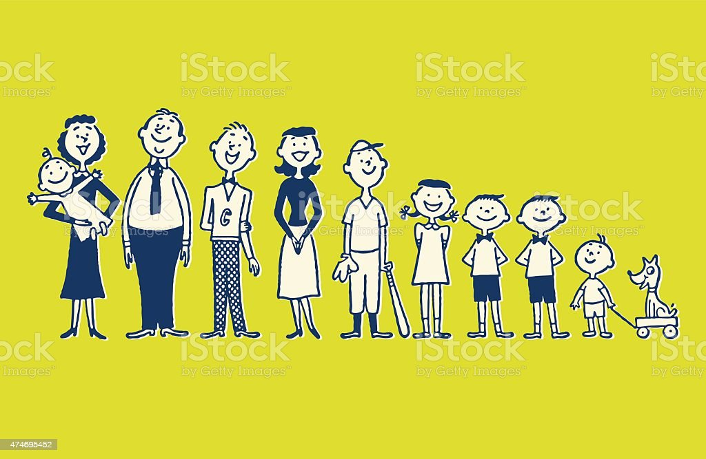 Large Family vector art illustration