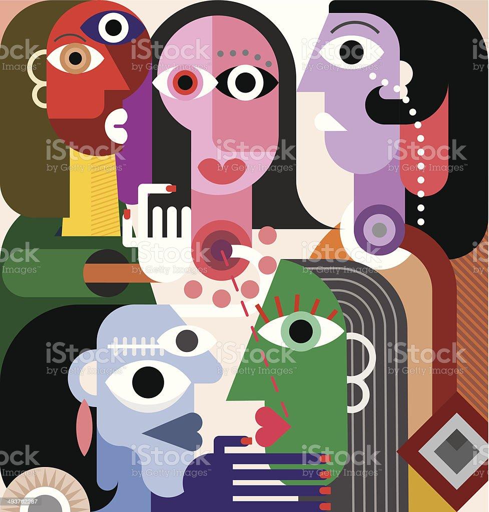 Large Family vector art illustration