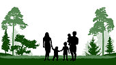 Large family (man, woman and three children) walks in the park (forest). Vector