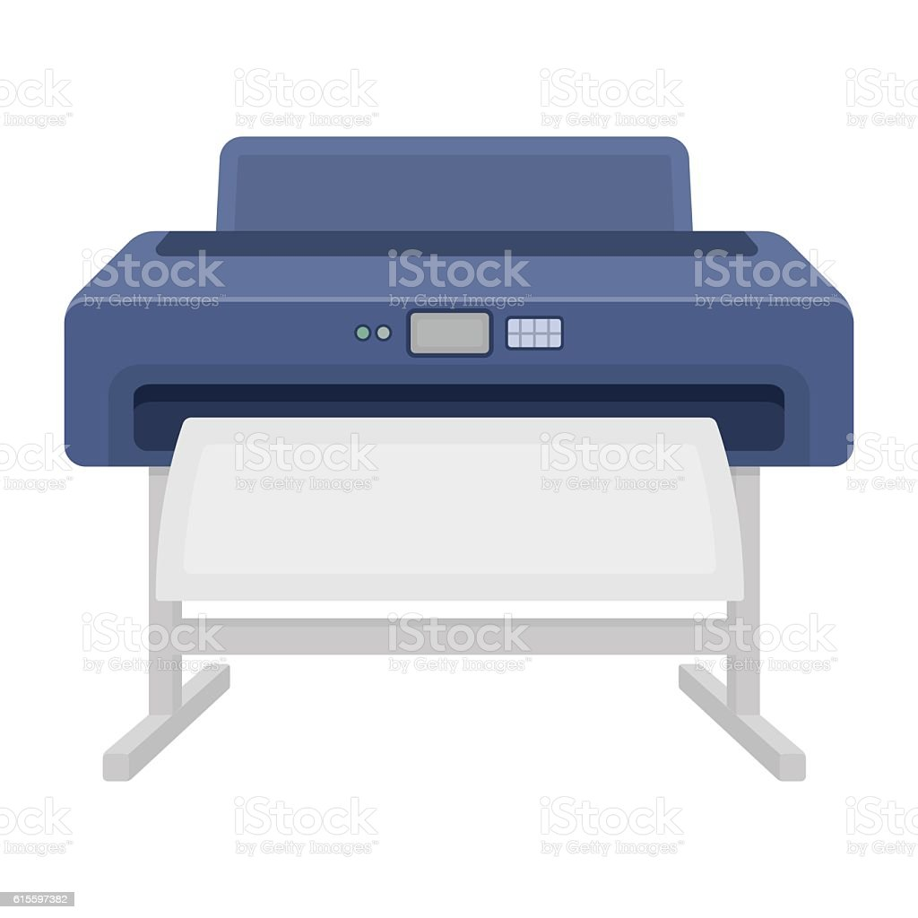 Large format printer icon in cartoon style isolated on white vector art illustration