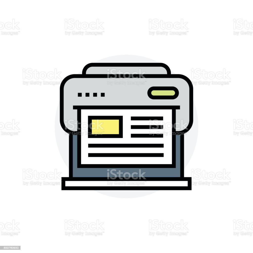 Large format printer or plotter concept Isolated Line Vector Illustration editable Icon vector art illustration