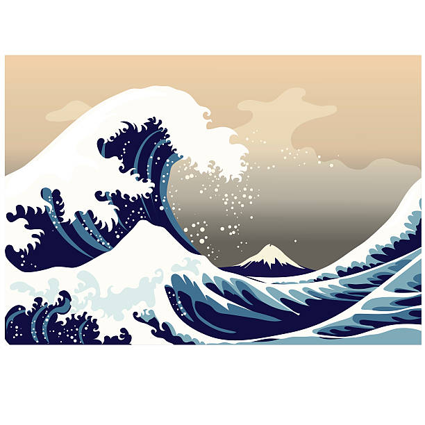 large frothy waves of the sea - tidal wave stock illustrations, clip art, cartoons, & icons