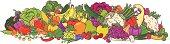 Large fruit & veggie group, illustration