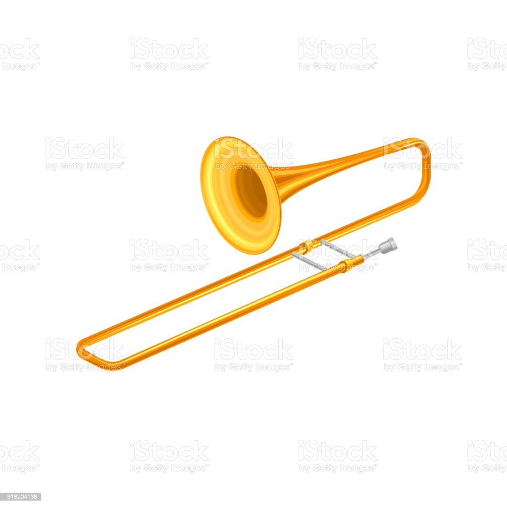 Cartoon Trombone Large Golden Tr...