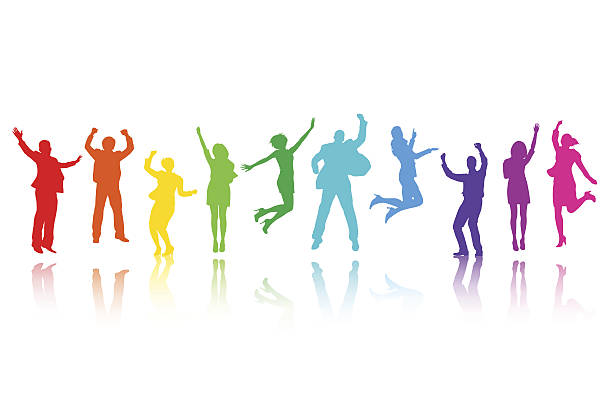 Large Group of Business People Celebrating  jumping stock illustrations
