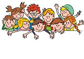 Large group of children, banner, funny vector illustration. Crowd od happy girls and boys on white background. Conceptual blank illustration.