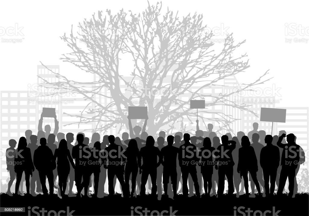 Large group of demonstrators men. vector art illustration