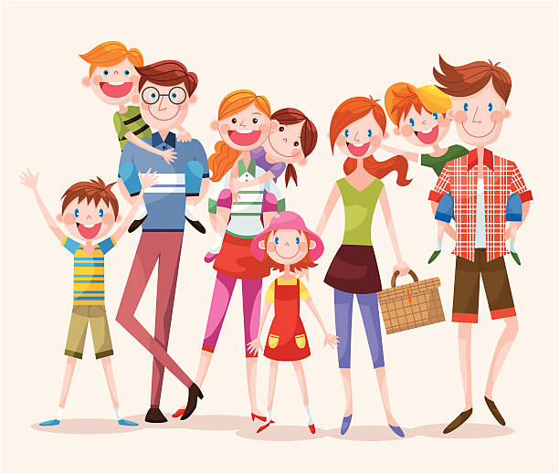 large group of happy people - happy family stock illustrations