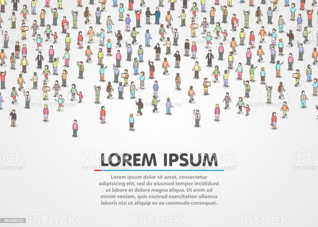 Large group of Isometric people. vector art illustration