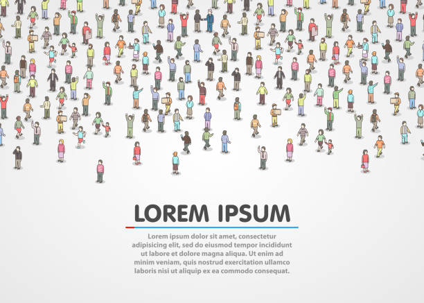 large group of isometric people. - retail worker stock illustrations, clip art, cartoons, & icons
