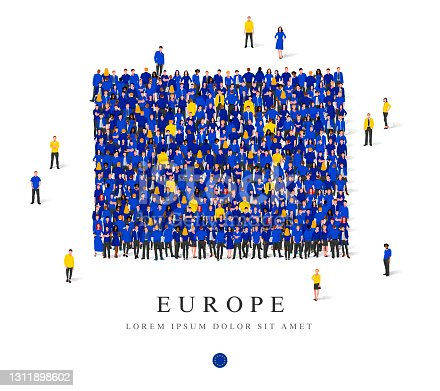 istock A large group of people are standing in blue and yellow robes, symbolizing the flag of Europe. 1311898602