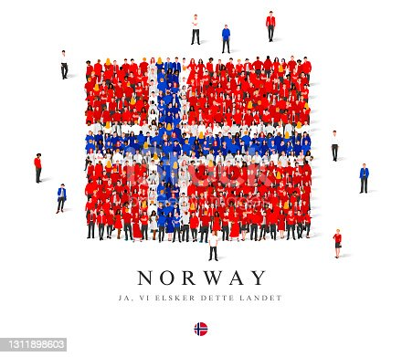 istock A large group of people are standing in red, white and blue robes, symbolizing the flag of Norway. 1311898603