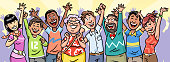 Vector illustration of a large diverse group of people of all ages, cheering, laughing and raising their hands. Concept for joy, vitality, diversity, party, celebration and society.