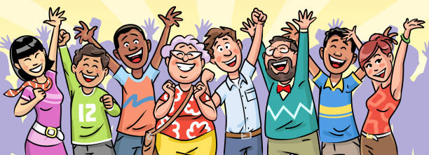 large group of people celebrating - caricatures stock illustrations, clip art, cartoons, & icons