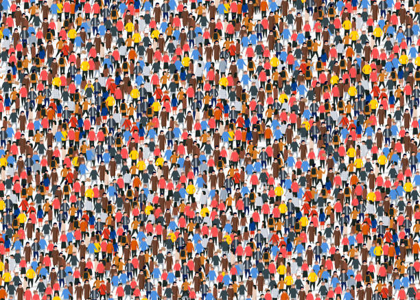 Large group of people crowded on white background. Large group of people crowded on white background. Vector illustration. crowd of people stock illustrations