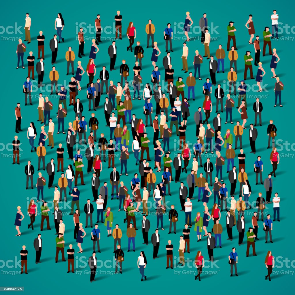Large group of people crowded on white background. vector art illustration