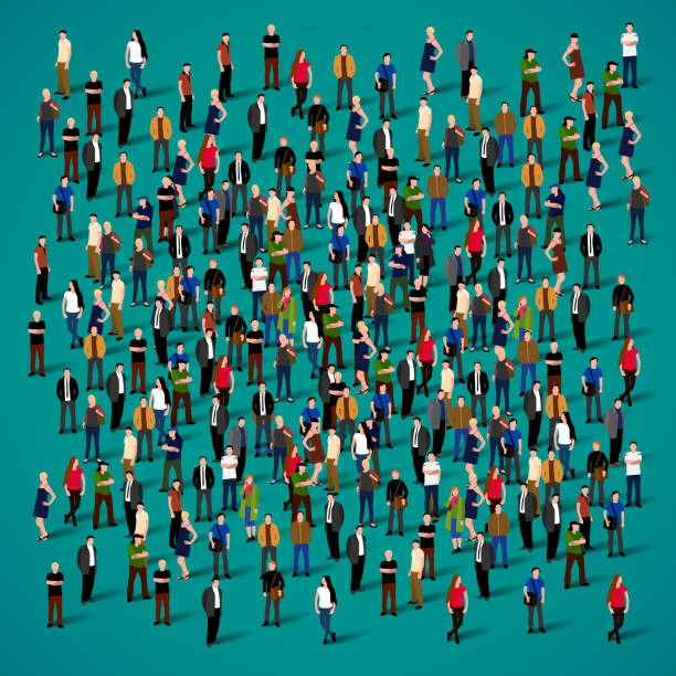 stockillustraties, clipart, cartoons en iconen met grote groep mensen druk op witte achtergrond. - grote groep mensen