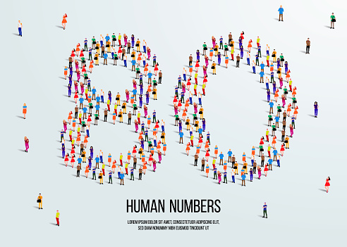 large group of people form to create number 80 or eighty. people font or number. vector illustration of number 80.
