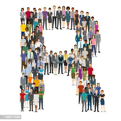 istock Large group of people gathering in letter R 1166974599