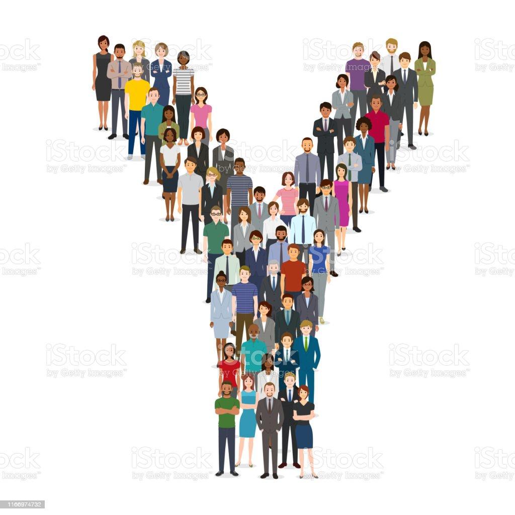 文字yで集まる大勢の人々 - アジアおよびインド民族のベクターアート ...