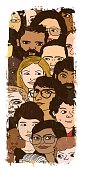 A vertical illustration of a large group of people