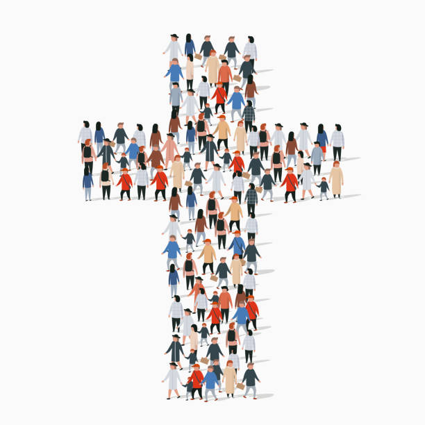 Large group of people in form of christian cross. Large group of people in form of christian cross. Church concept church stock illustrations