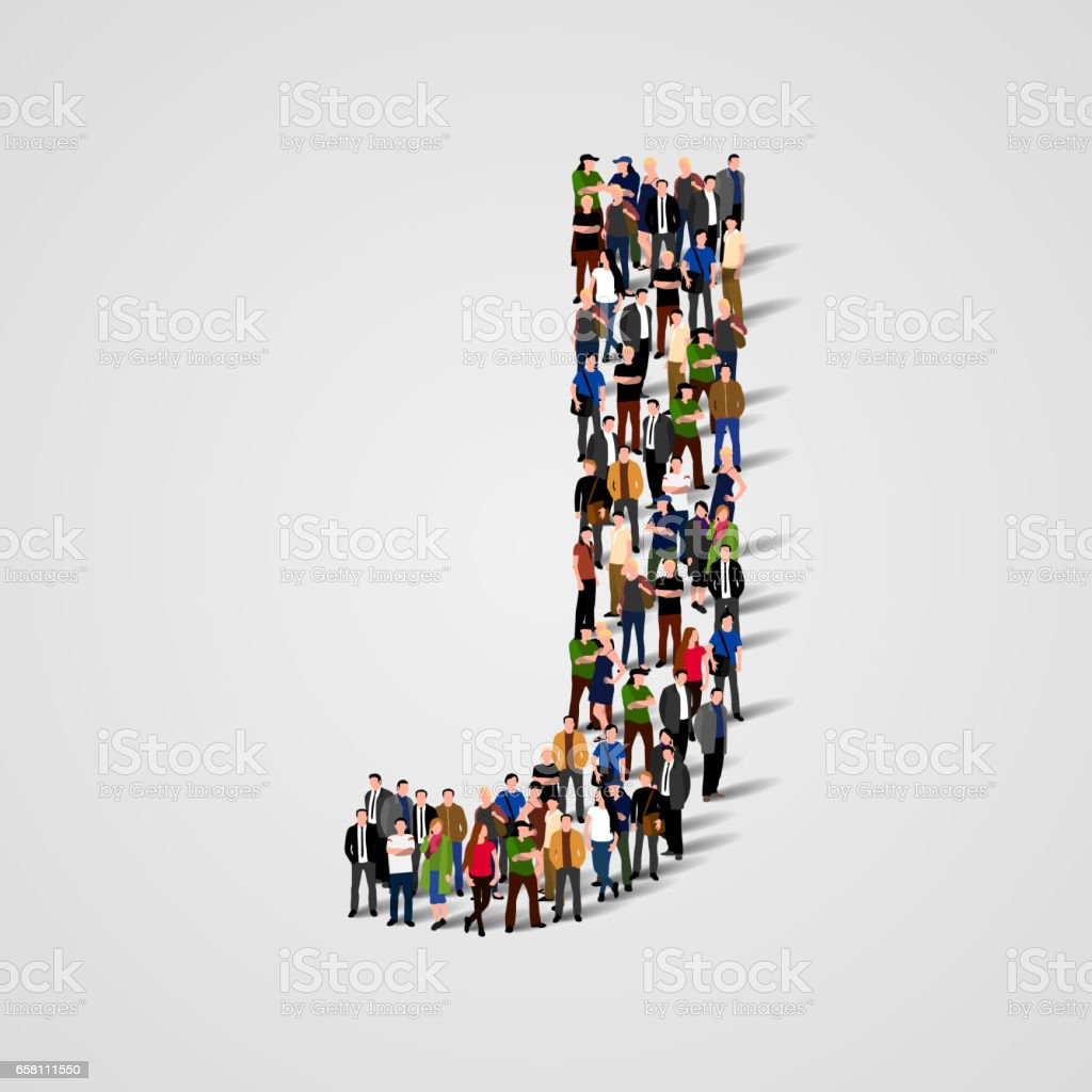 Large group of people in letter J form royalty-free large group of people in letter j form stock vector art & more images of abstract