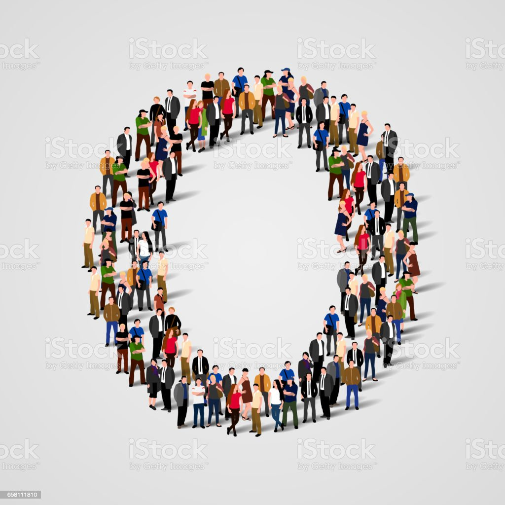 Large group of people in letter O form vector art illustration